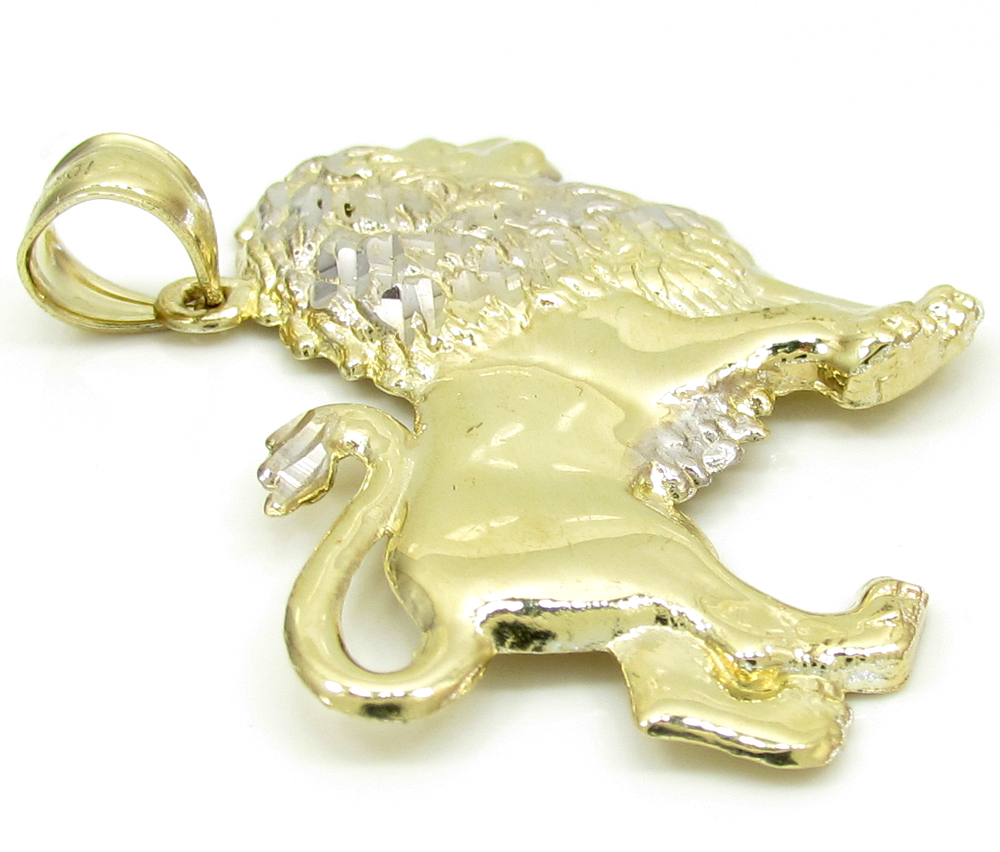 10k yellow gold small lion pendant