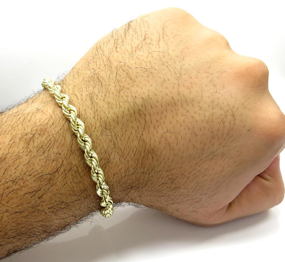 10k yellow gold medium rope bracelet 8.5 inch 6.2mm