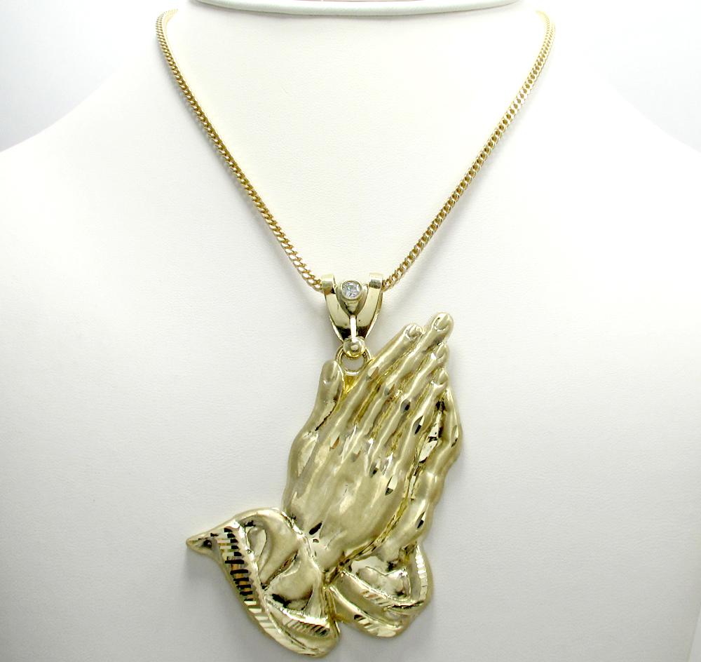 10k yellow gold large praying hands pendant 010ct aloadofball Choice Image