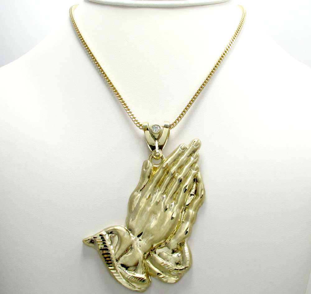 10k yellow gold large praying hands pendant 0.10ct