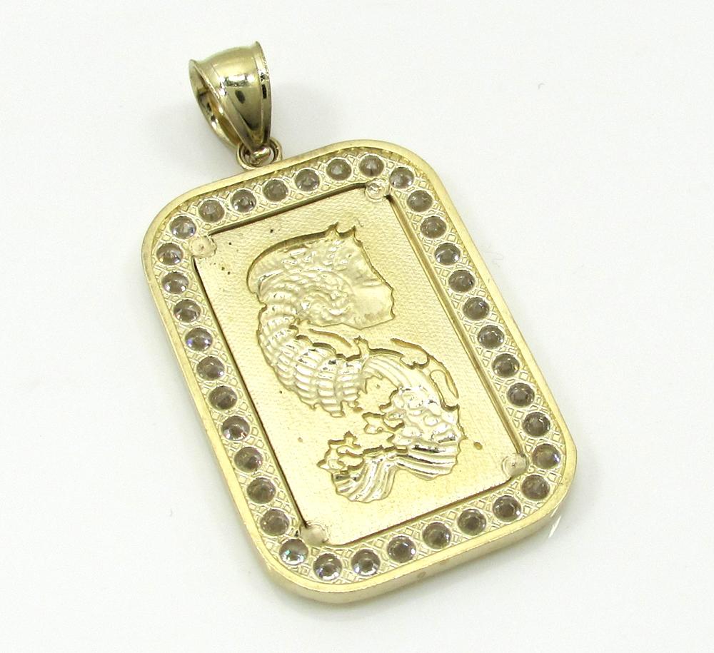 10k yellow gold mini gold bar pendant 0.10ct