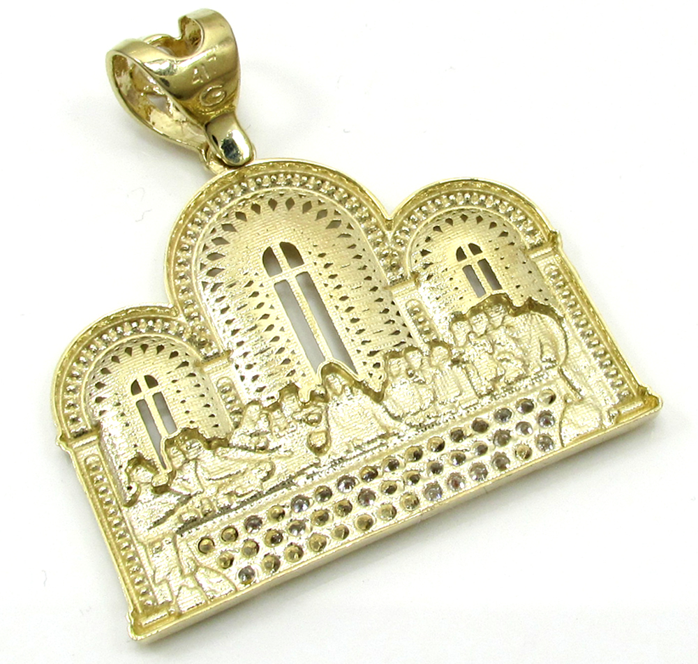 10k yellow gold two tone cz jesus apostles last supper pendant 1.50ct