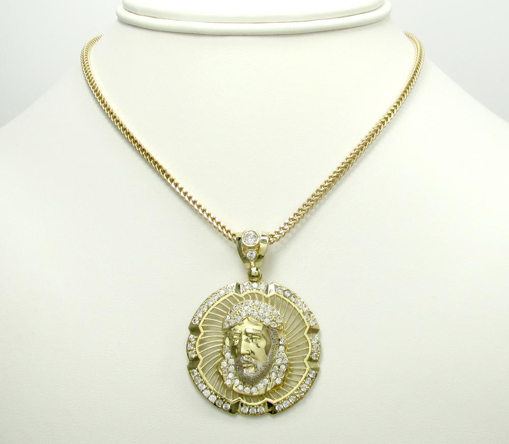 10k yellow gold jesus face halo pendant 1.10ct