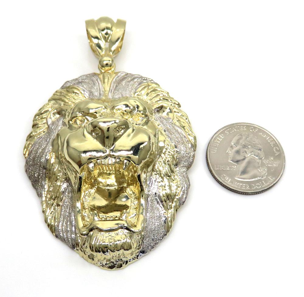 10k yellow gold large two tone 3d lion head pendant