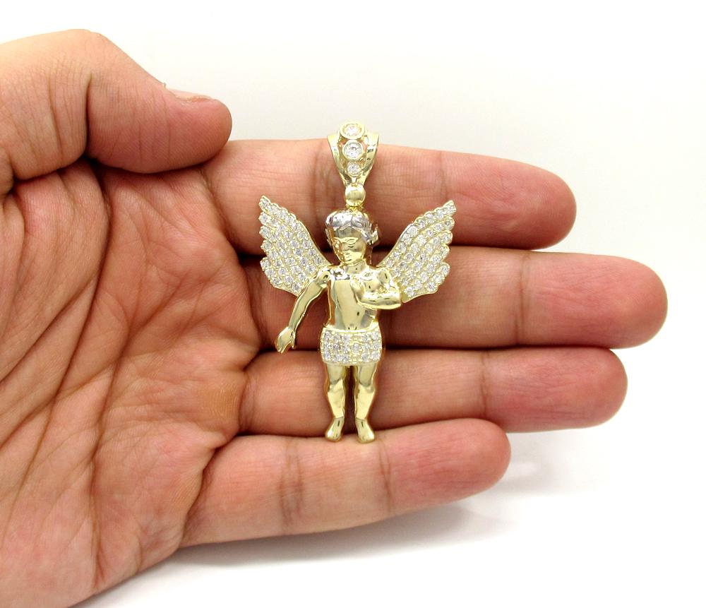 10k yellow gold two tone large baby cherub pendant 1.50ct