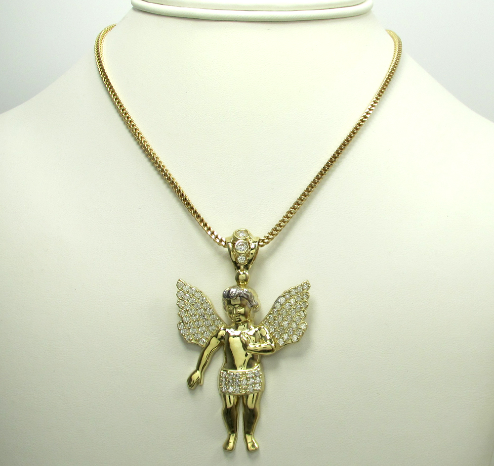 10k yellow gold two tone large baby cherub pendant 1.50ct