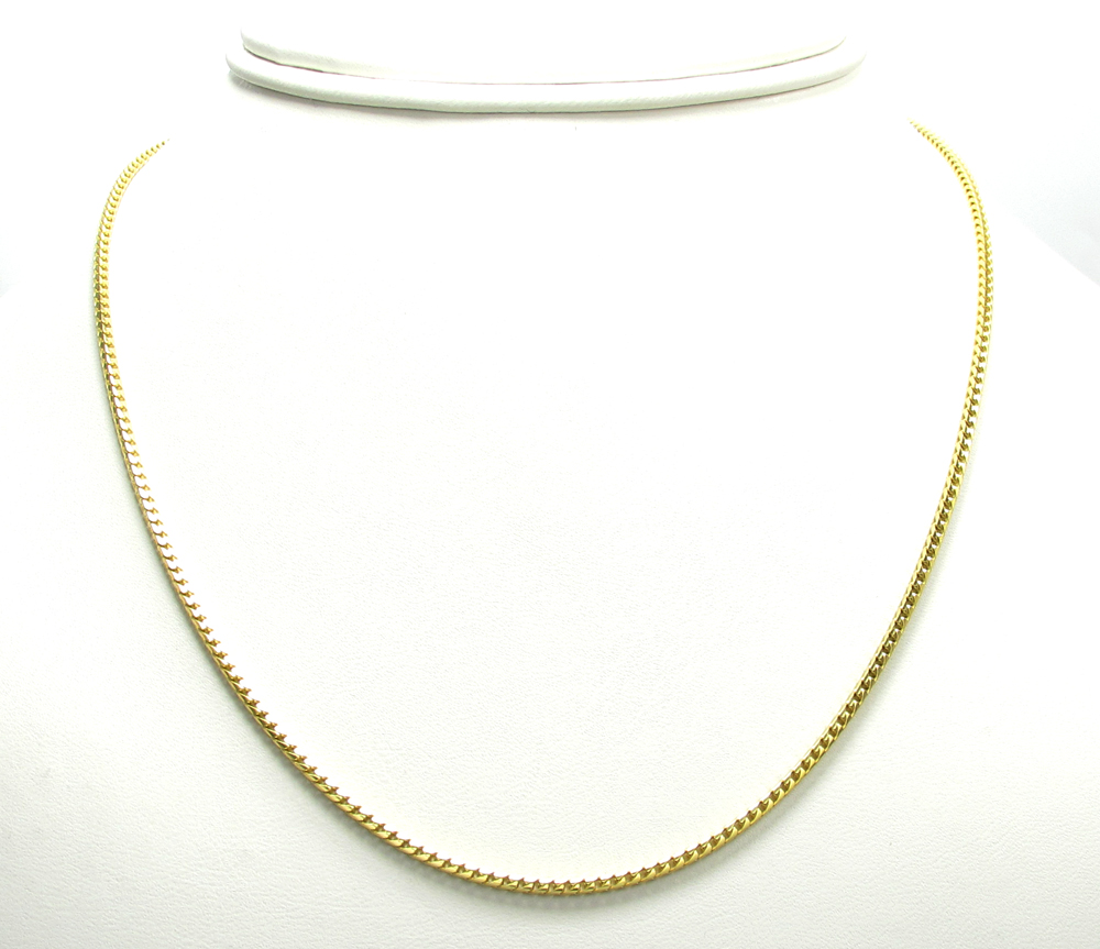 10k yellow gold solid skinny franco link chain 18-24 inch 1.7mm