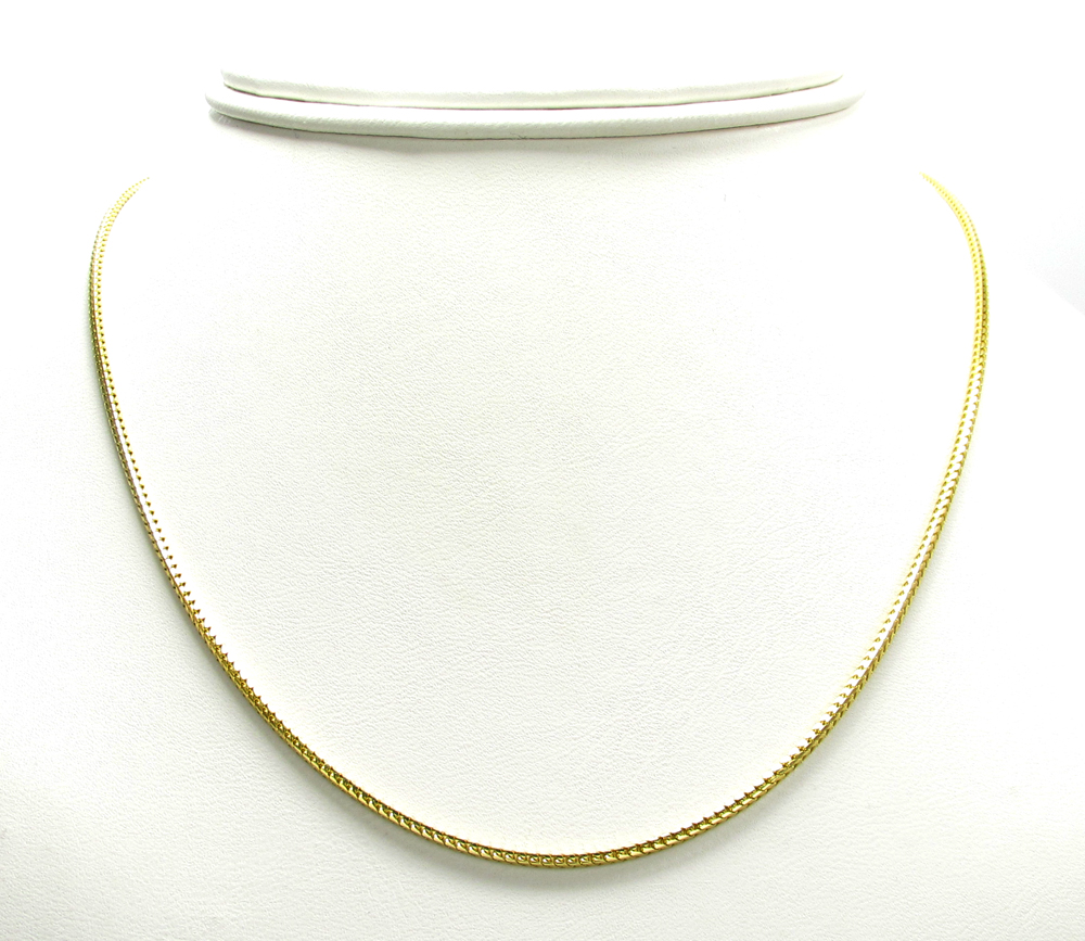 1b69969f0831f 10K Yellow Gold Solid Skinny Franco Link Chain 24-26 Inch 1.5mm