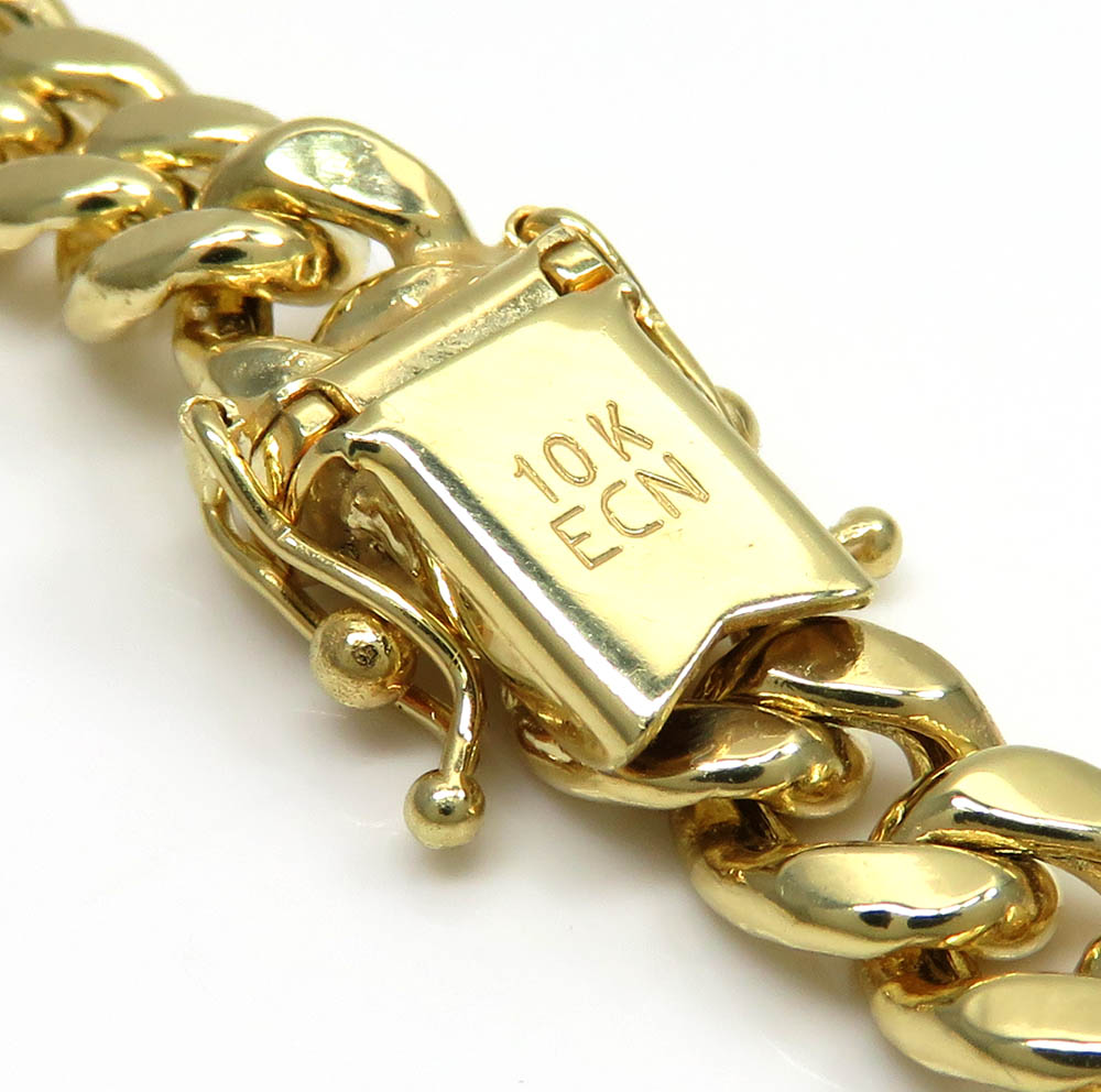 10k yellow gold thick hollow miami chain 20-30 inch 6.7mm