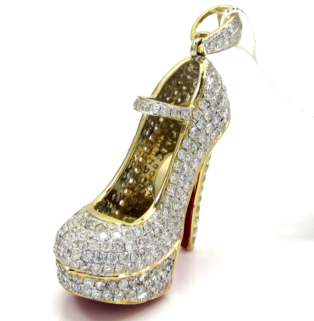 14k yellow gold red bottom stiletto heel shoe 2.90ct