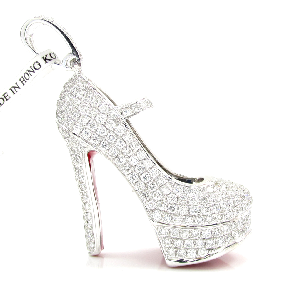 new arrival a25d6 f3551 14k White Gold Red Bottom Stiletto Heel Shoe 2.88CT