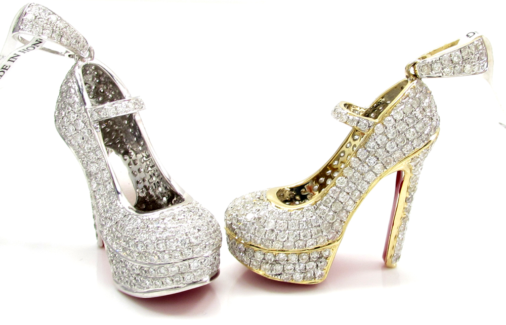 14k white gold red bottom stiletto heel shoe 2.88ct