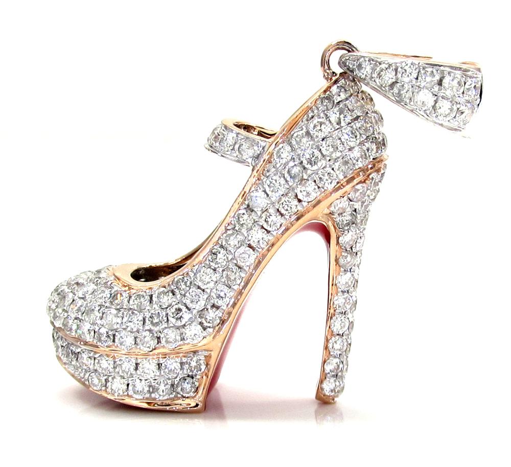 14k rose,white, yellow gold red bottom stiletto heel shoe 1.96ct