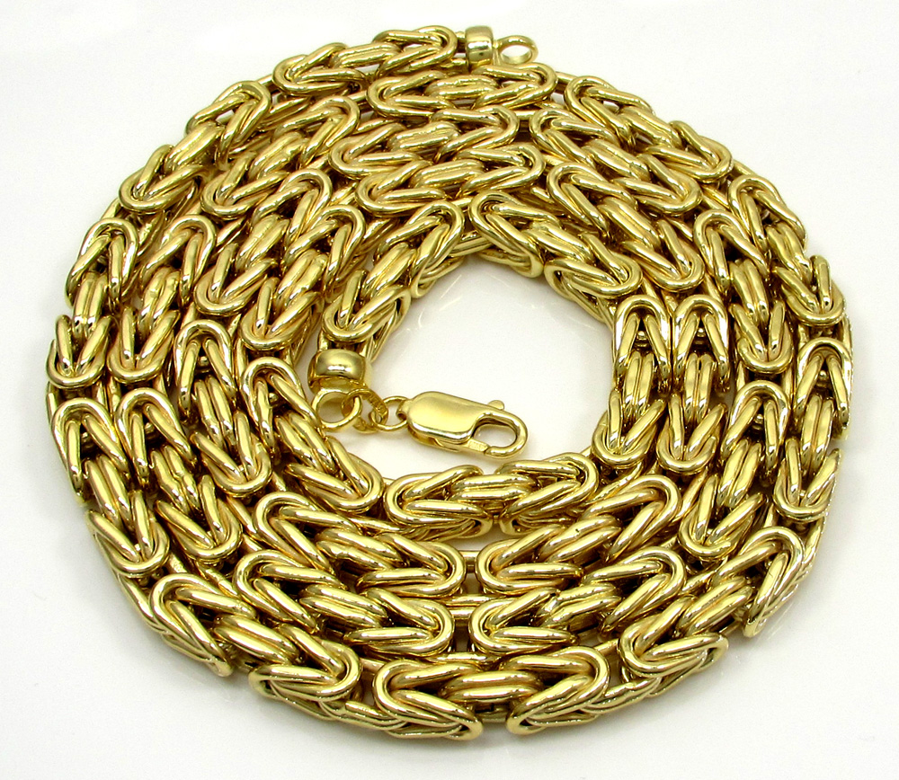 10k yellow gold byzantine chain 24-30 inch 5.8mm