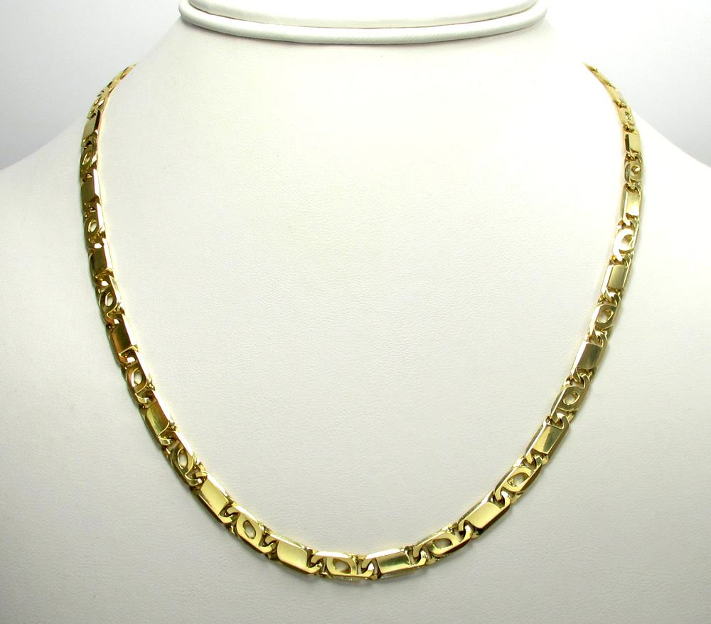 10k yellow gold solid tiger eye chain 22-26inch 5mm