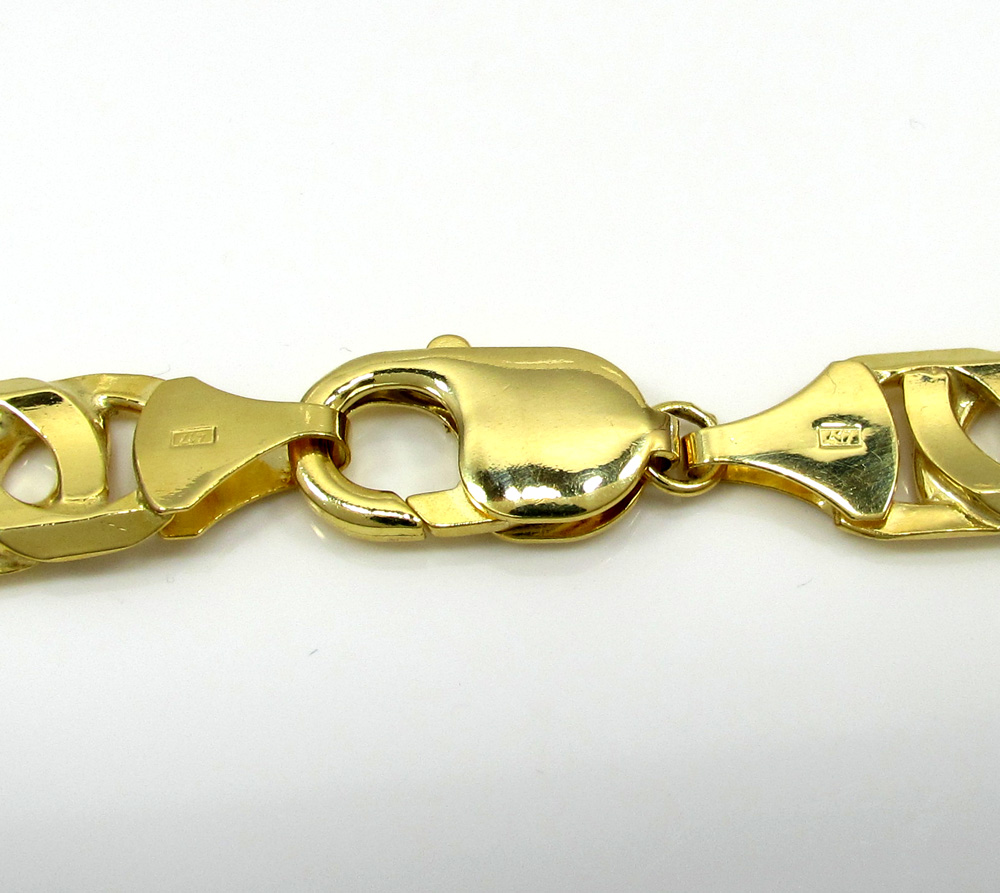 10k yellow gold thick solid tiger eye bracelet 8.75