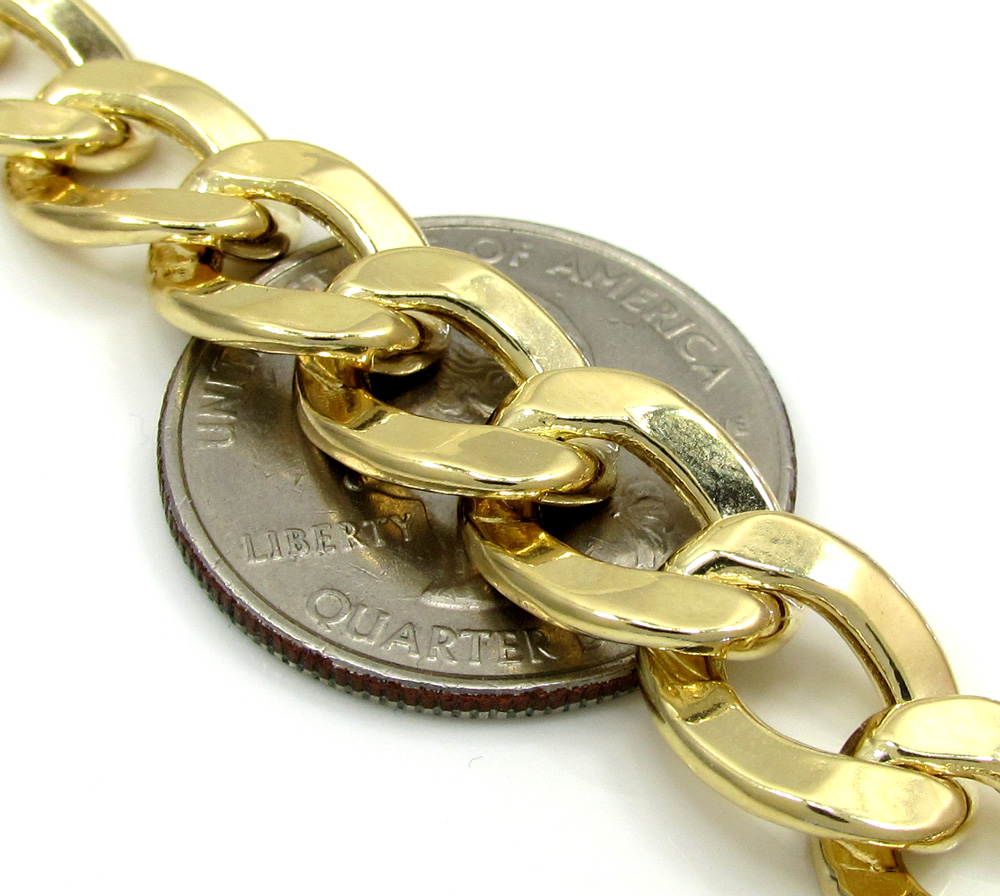 10k yellow gold thick cuban chain 26 inch 10.6mm