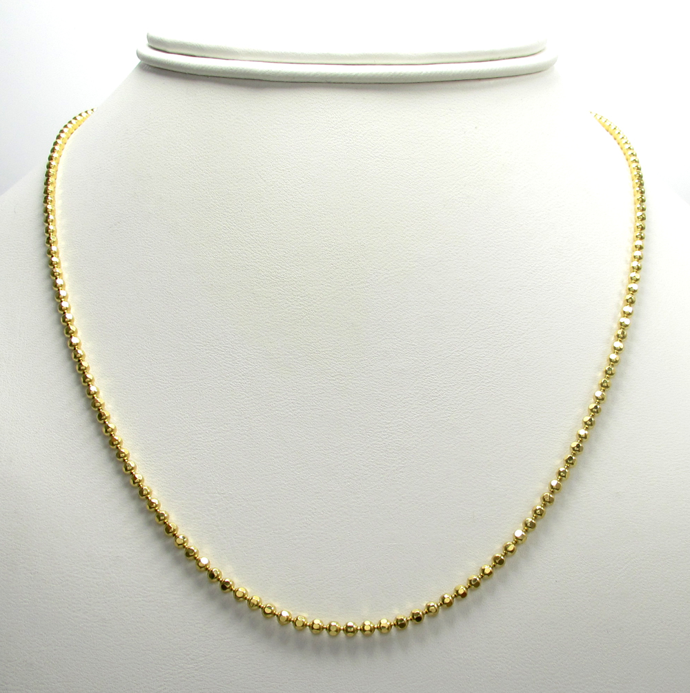 10k yellow gold hexagon bead link chain 20-30 inch 2.3mm
