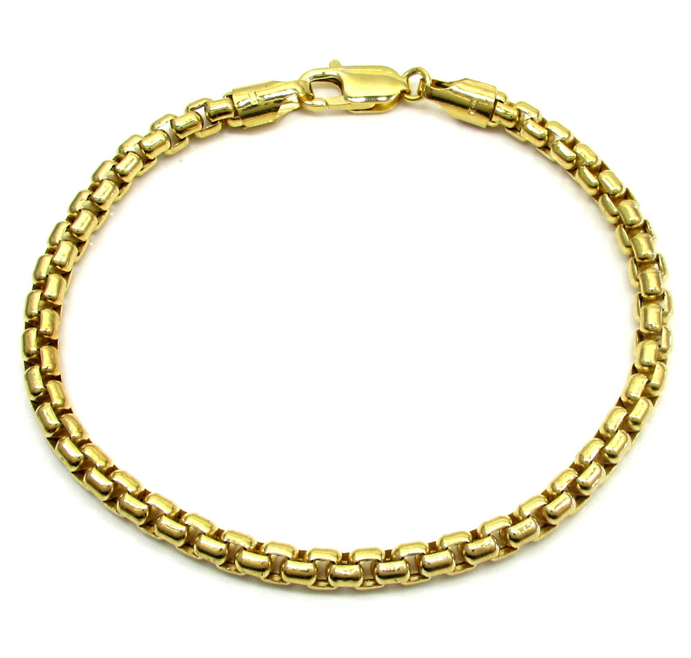 10k yellow gold skinny venetian box bracelet 8 inch 5mm