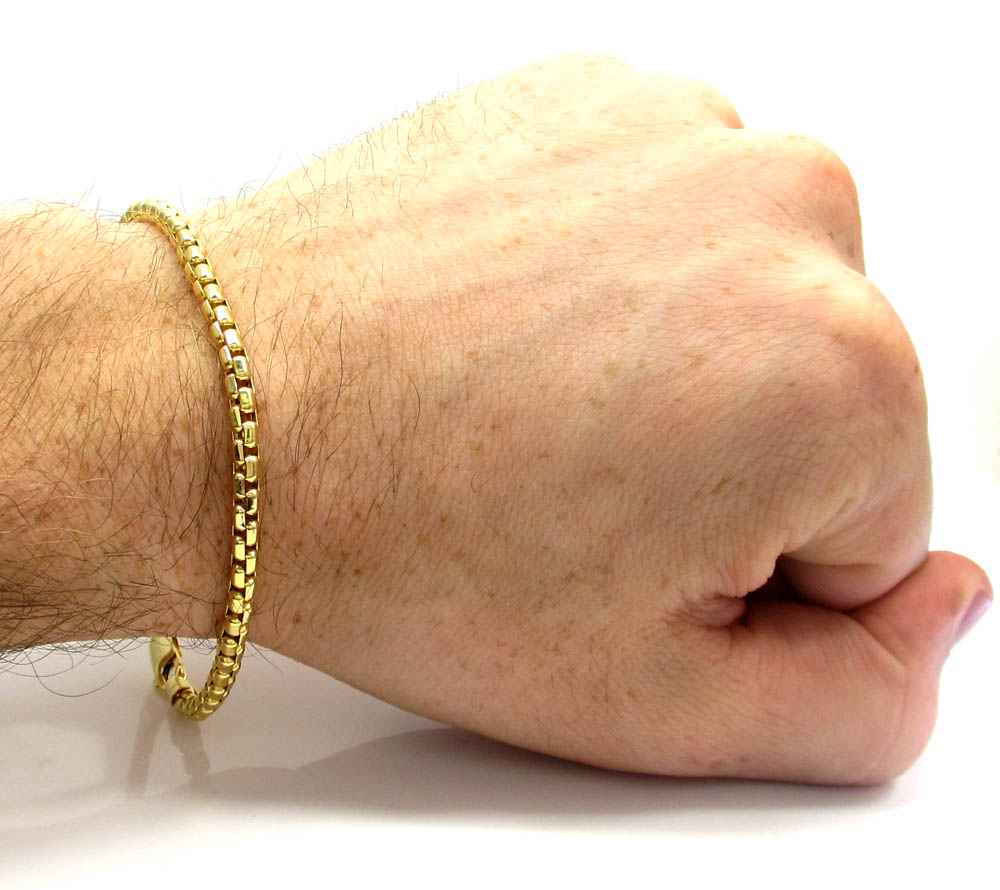 10k yellow gold venetian box bracelet 8 inch 3.5mm