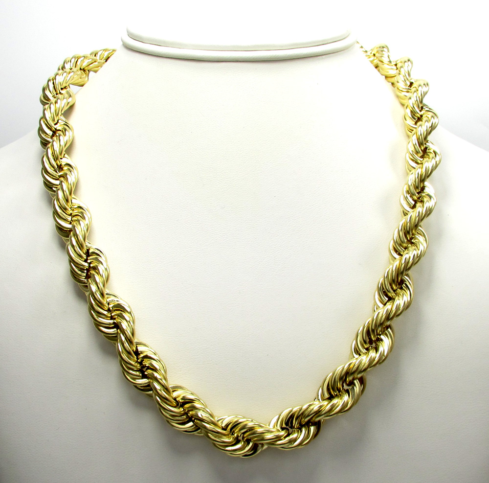 10K Yellow Gold Thick Smooth Hollow Rope Chain 24-28 Inch 12mm 44d31f7ab2f4