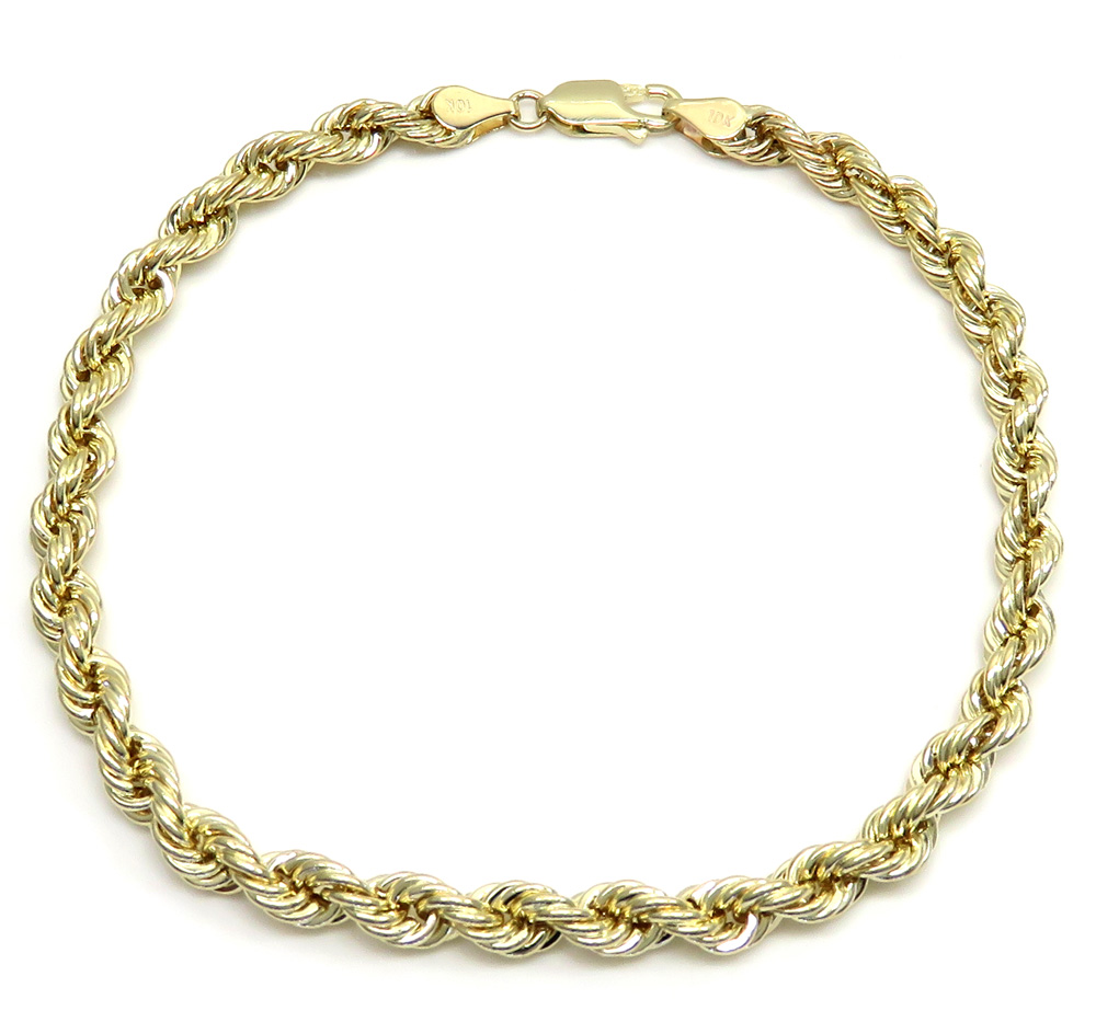 10k yellow gold smooth hollow rope bracelet 8 inch 4.00mm