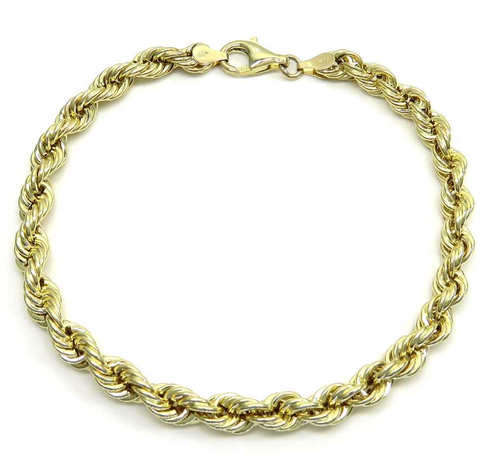 10k yellow gold smooth hollow rope bracelet 8.25 inch 5.50mm