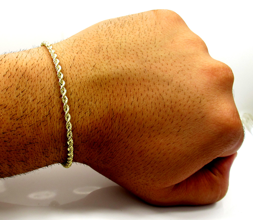 10k yellow gold skinny smooth hollow rope bracelet 8