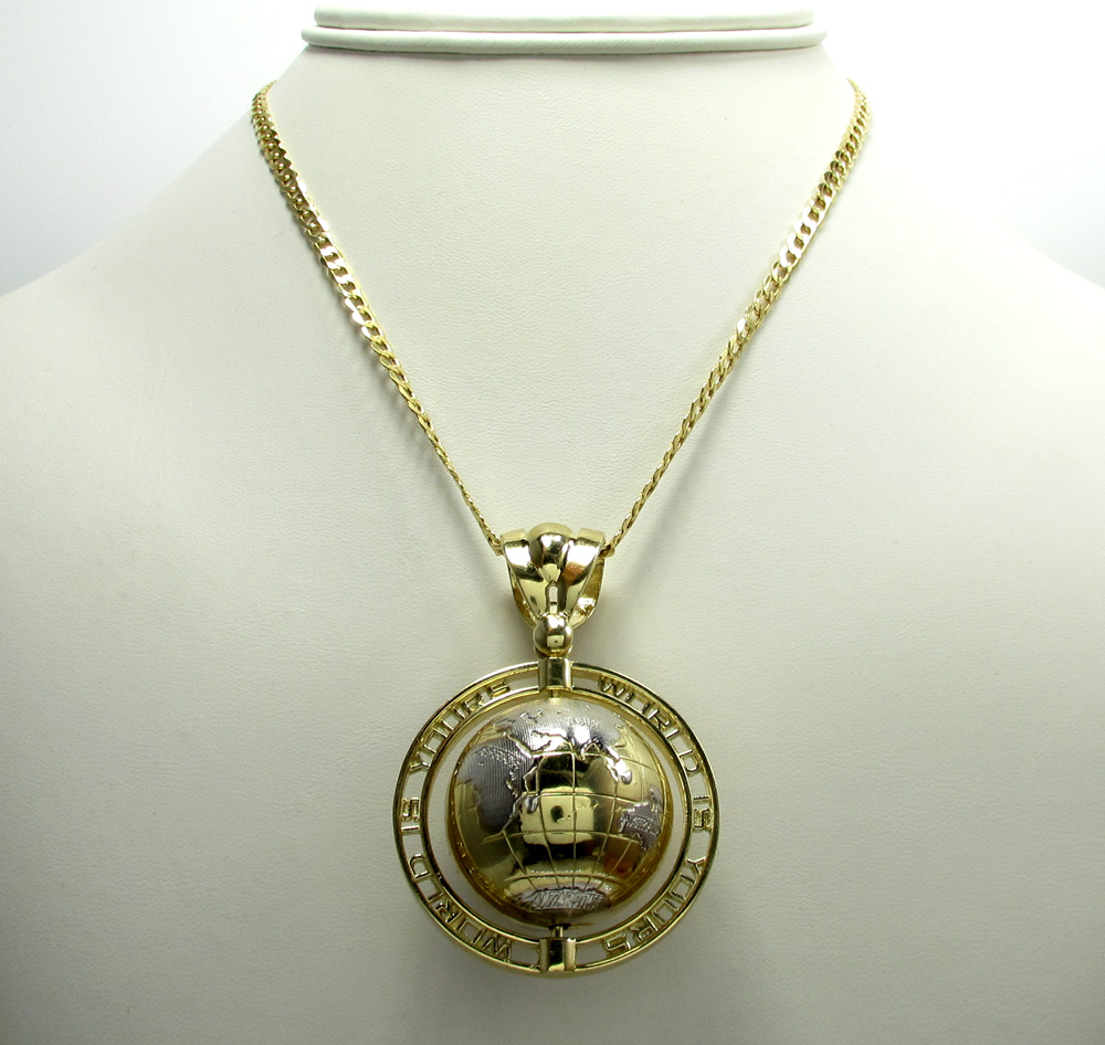 10k yellow gold the world is yours spinning globe pendant