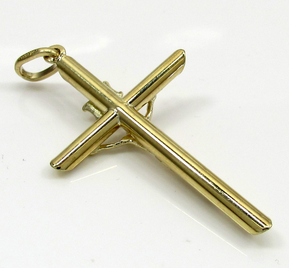 10k yellow gold small jesus tube cross pendant