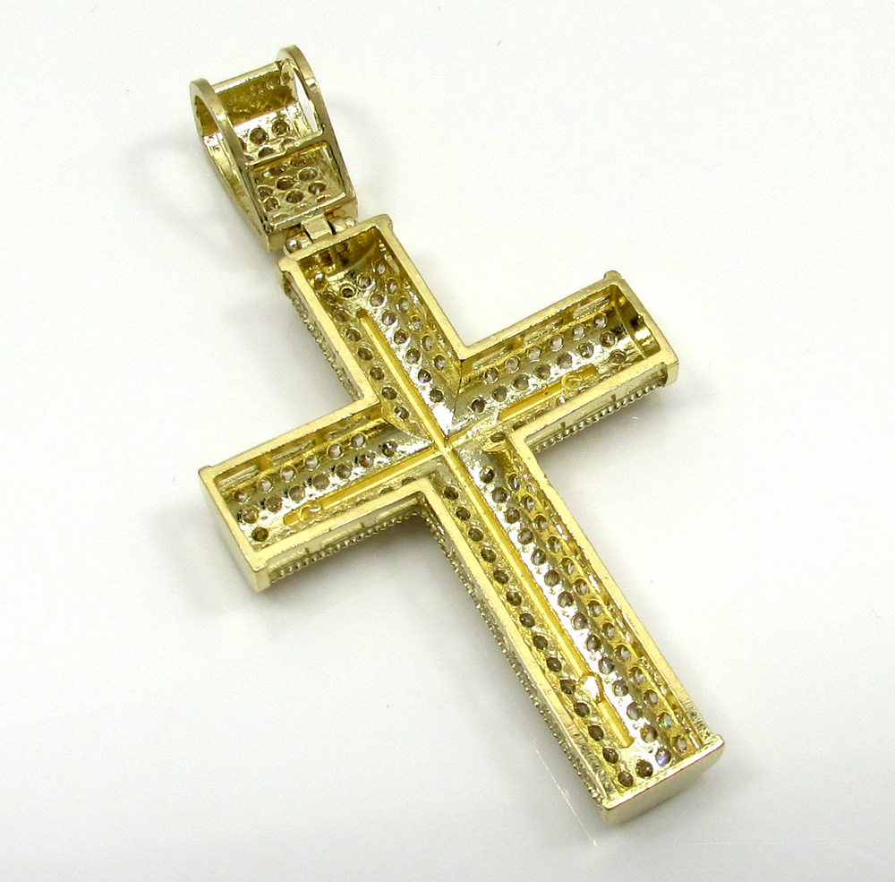 10k yellow gold small two tone cross pendant 1.50ct