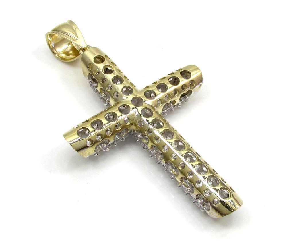 10k yellow gold medium two tone tube cross pendant 1.40ct