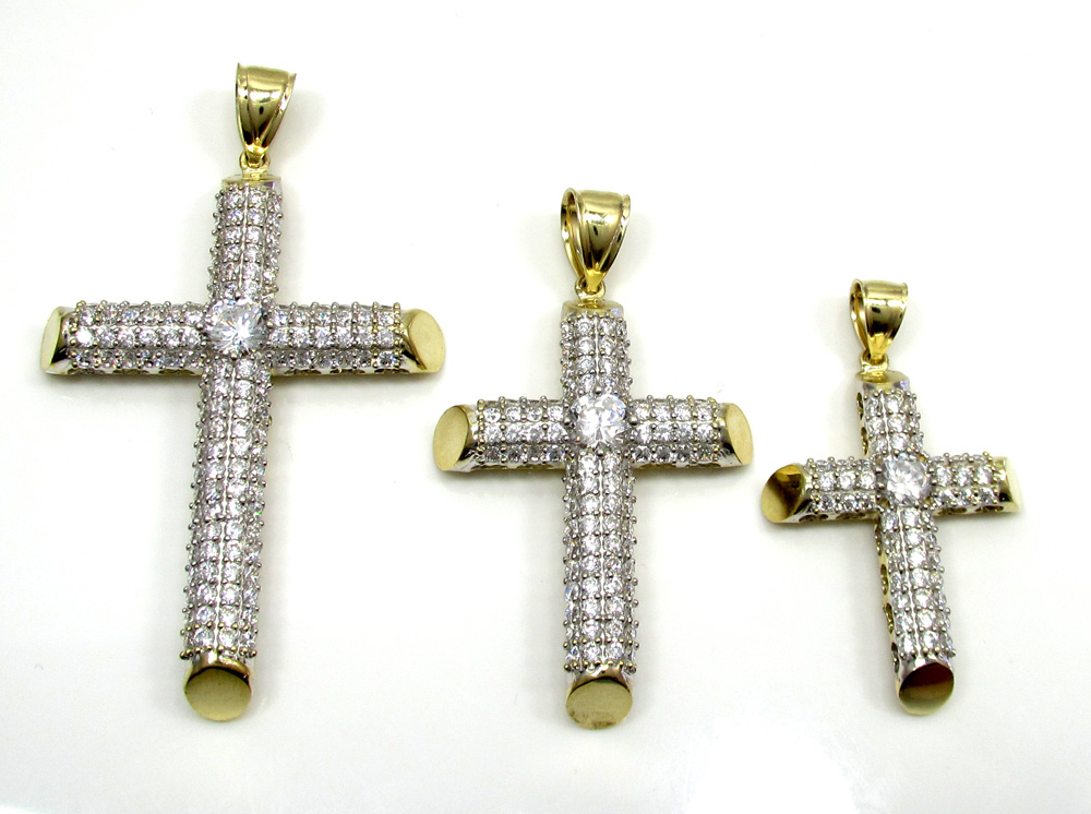 10k yellow gold small two tone tube cross pendant 1.2ct