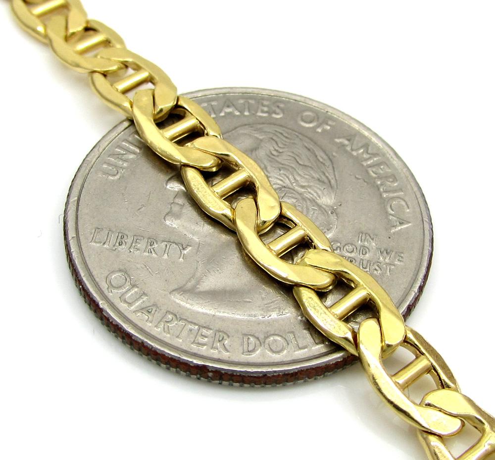 10k yellow gold puffed mariner chain 20-26 inch 5.2mm
