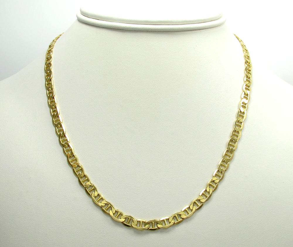 10k yellow gold puffed mariner chain 20-22 inch 5.2mm
