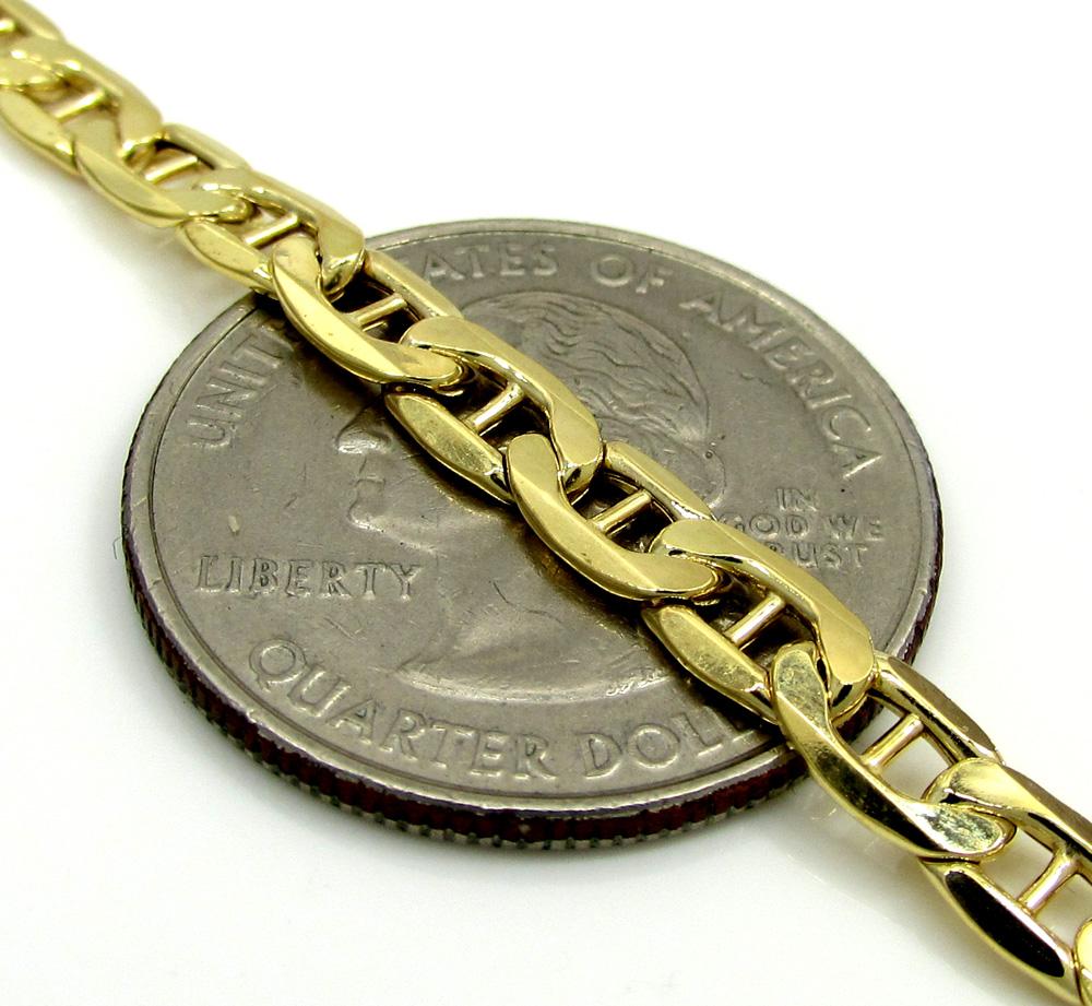 10k yellow gold puffed mariner chain 24-30 inch 4.7mm