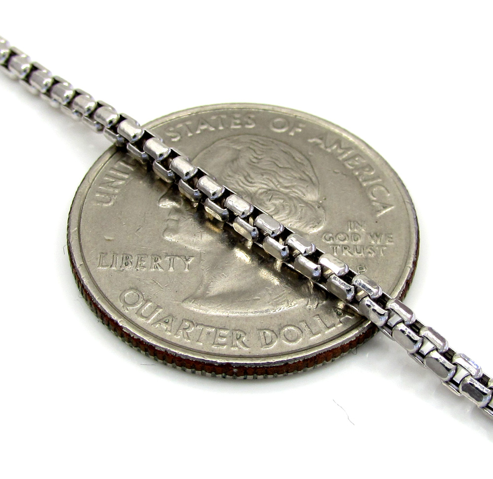 10k white gold skinny box chain 24-26 inch 2.3mm