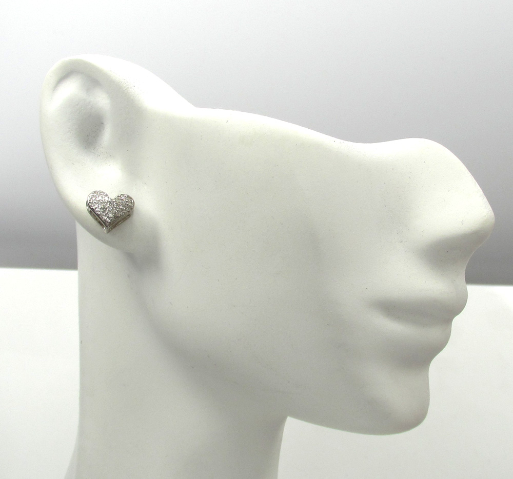 10k yellow and white gold mini ladies heart earrings 0.23ct