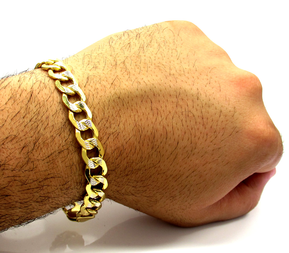 10k yellow gold thick diamond cut two tone cuban bracelet 9 inch 11mm
