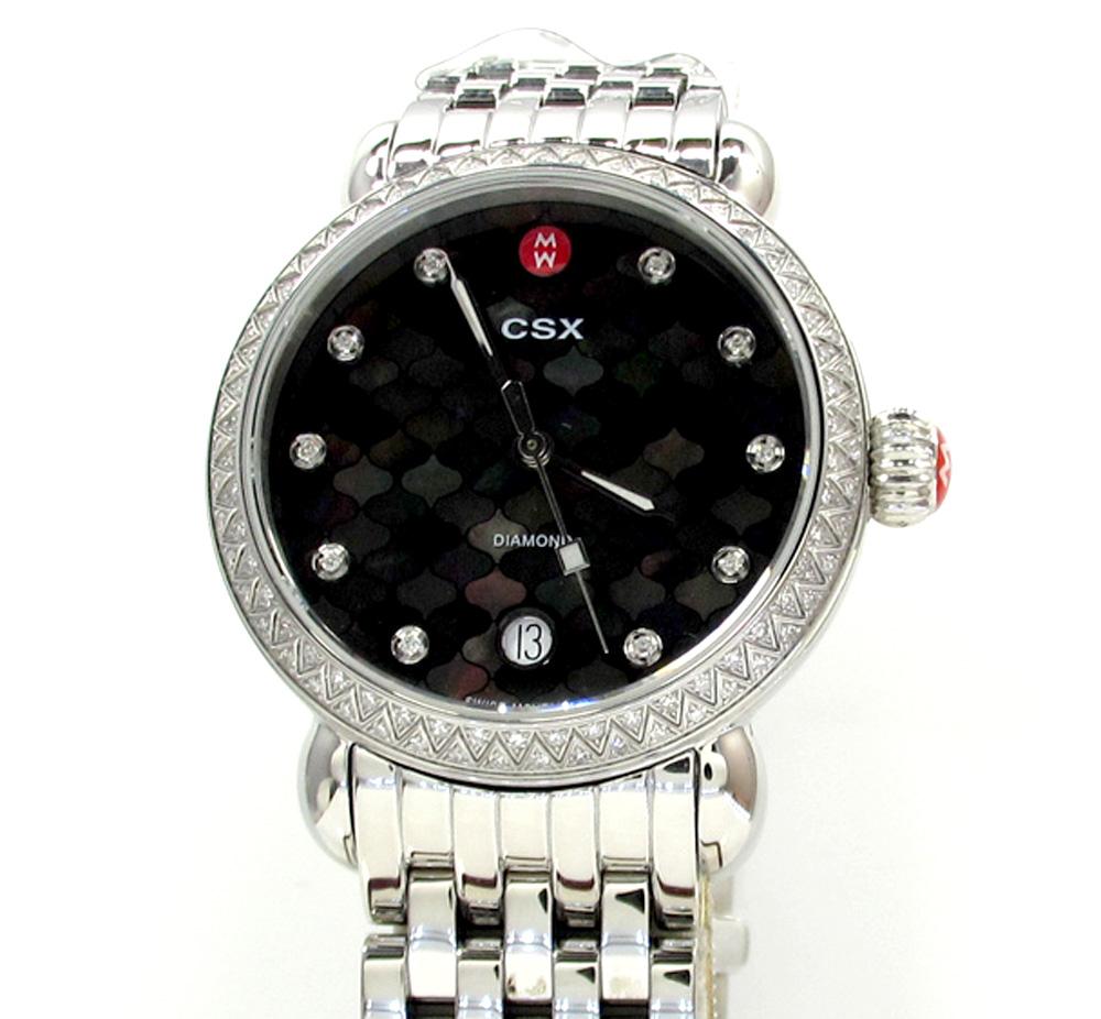 Ladies michele csx black dial diamonds watch mw03r01a1928