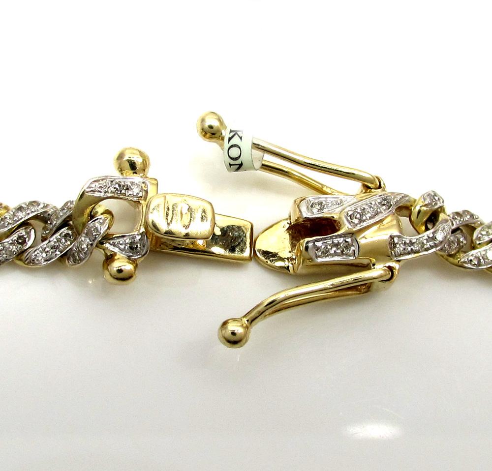 10k solid yellow gold skinny diamond miami bracelet 8 5 inch 5mm 2