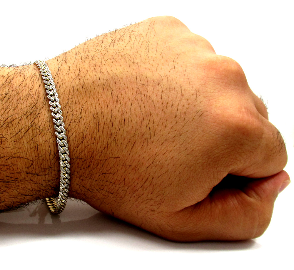 10k solid yellow gold skinny diamond miami bracelet 8.5 inch 5mm 2.01ct