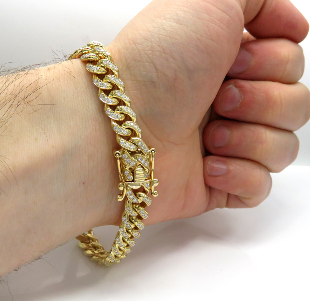 10k solid yellow gold thick diamond miami bracelet 8.50 inch 9mm 7.20ct