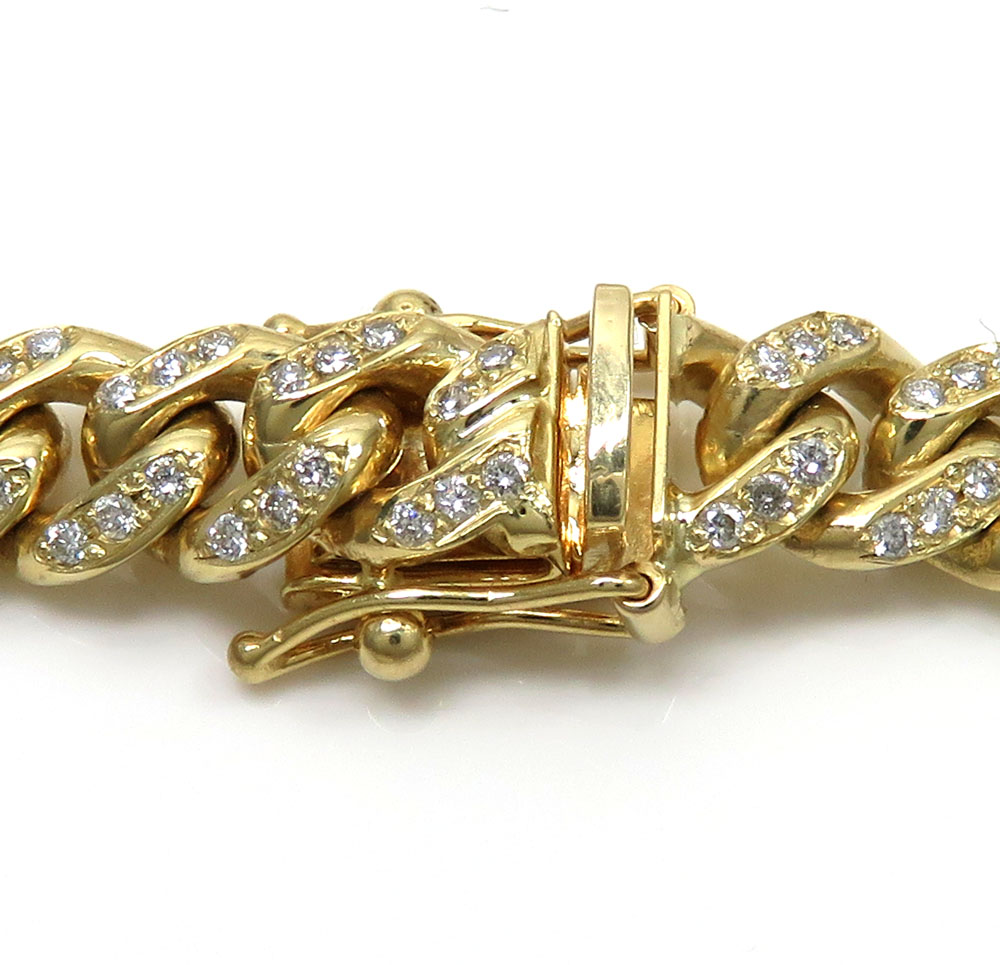 10k solid yellow gold diamond miami bracelet 8.5 inch 7mm 2.02ct