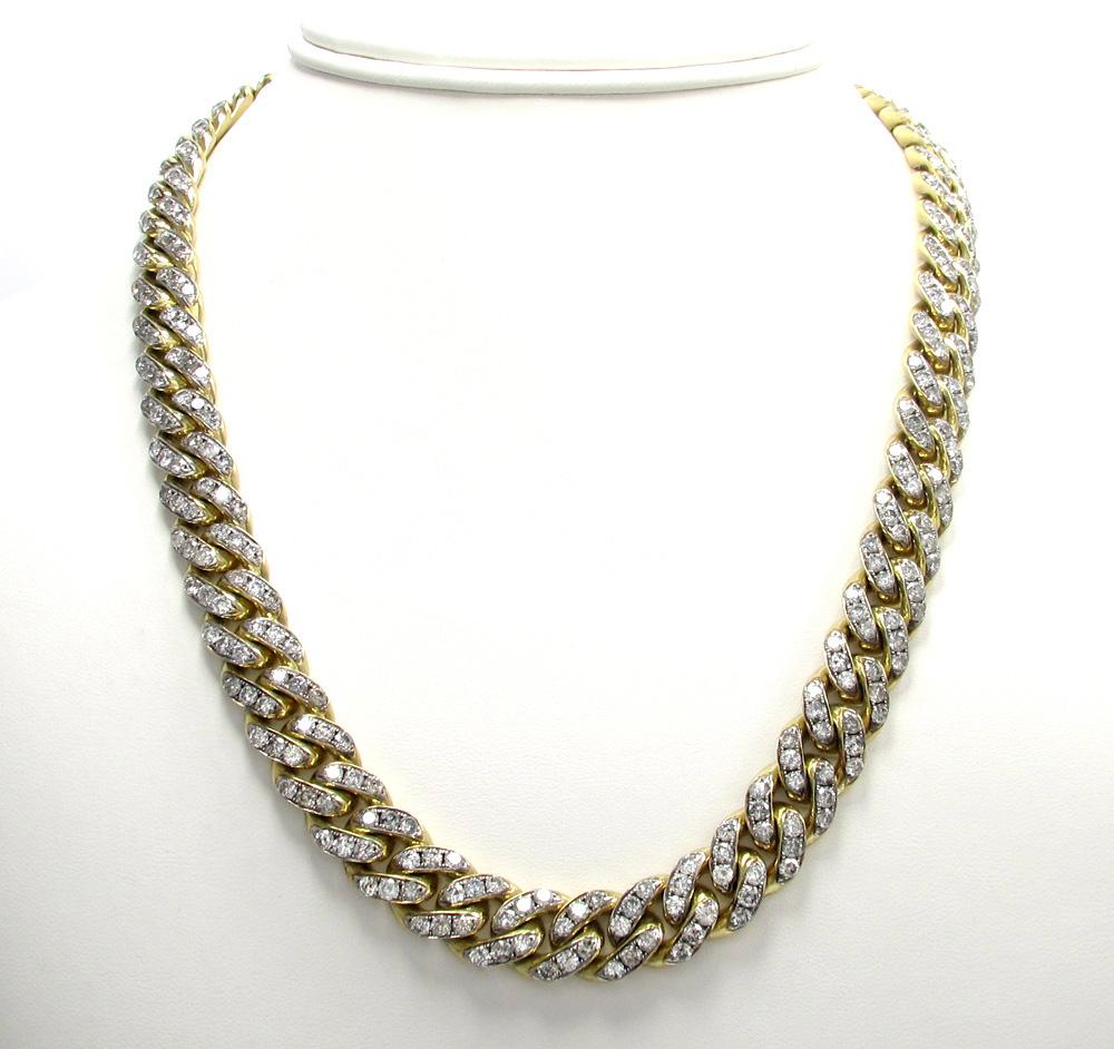 10k solid yellow gold super thick diamond miami chain 30 inch 11.5mm 40.01ct