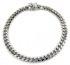 10k white gold medium hollow puffed miami bracelet 8.50 inch 6.5mm