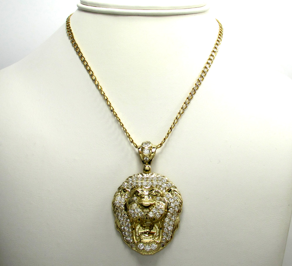 10k yellow gold large cz lion head pendant 1.50ct