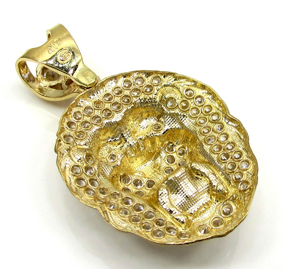 10k yellow gold medium cz lion head pendant 1.25ct
