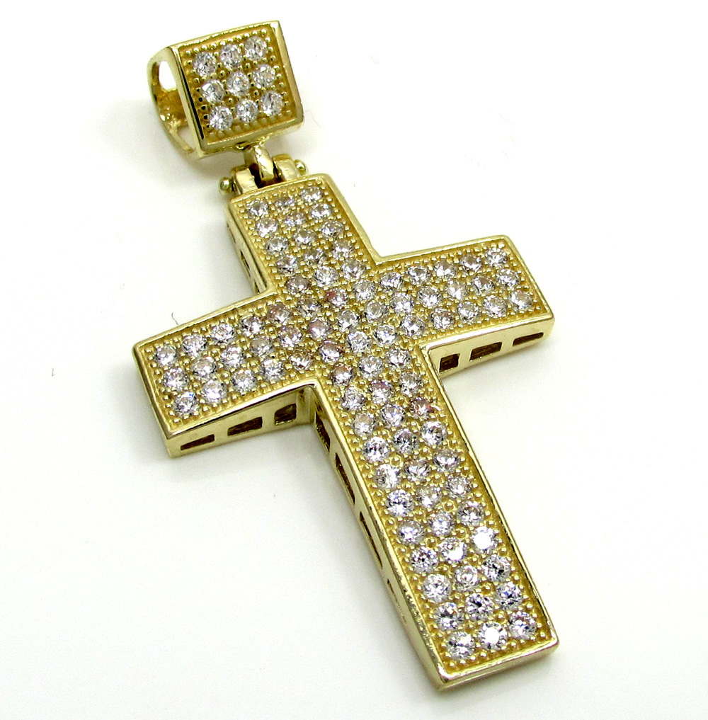 10k yellow gold mini cz cross pendant 1.10ct