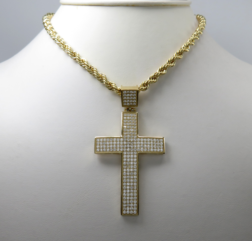 10k yellow gold medium cz cross pendant 1.20ct
